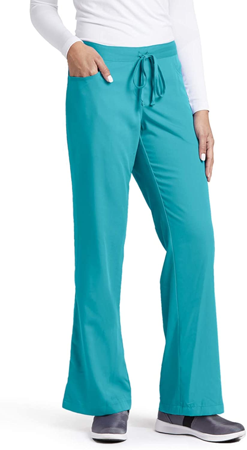 Grey's Anatomy Women's Junior-Fit Five-Pocket Drawstring Scrub Pant - Small Tall - Teal