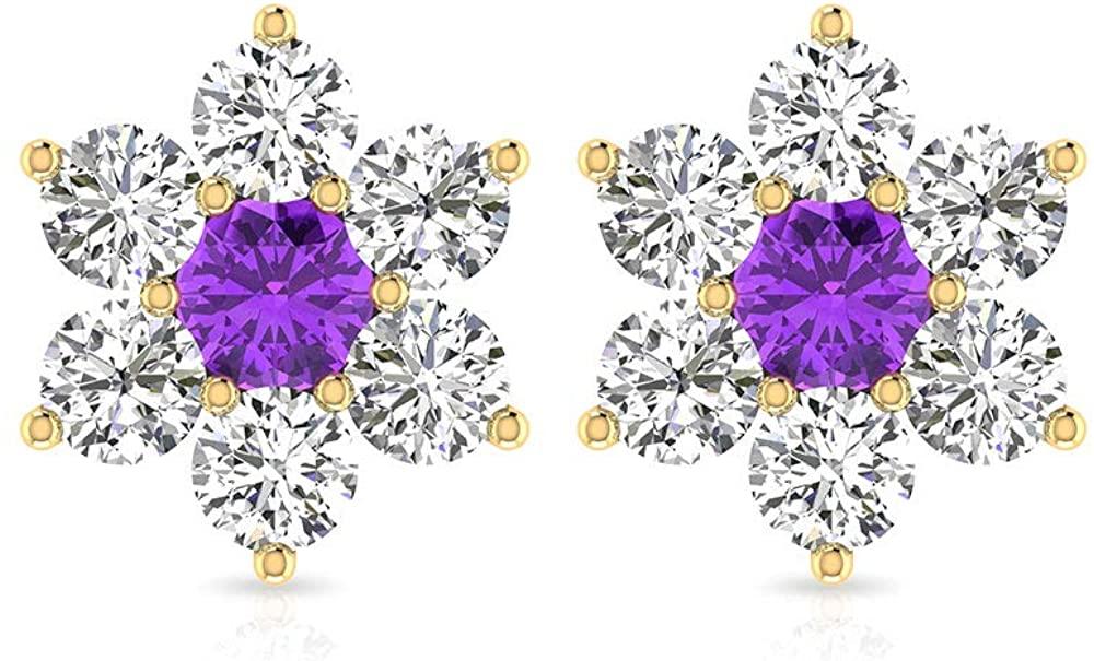0.98Ct IGI Certified Diamond Amethyst Earring, Purple Stone Diamond Cluster Flower Stud, February April Birthstone Anniversary Stud, Floral Tulip Stud, Screw Back