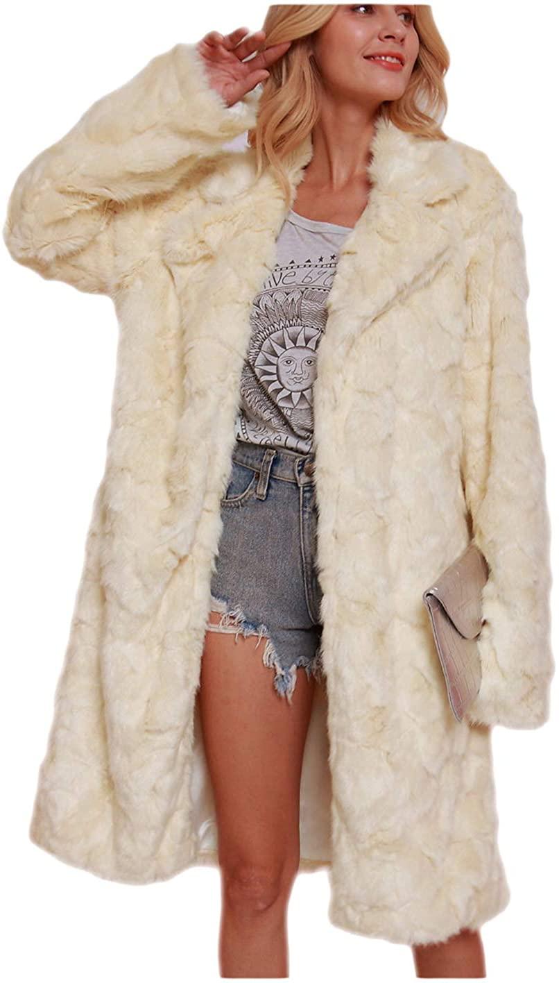 Women's Faux Fur Long Jacket Warm Long Sleeve Luxury Chunky Cardigan Tops for Winter New Year