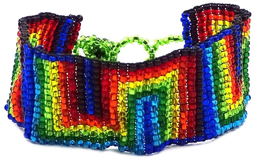 Mia Jewel Shop Rainbow Multicolored Thick Seed Bead Fashion Strap Bracelet