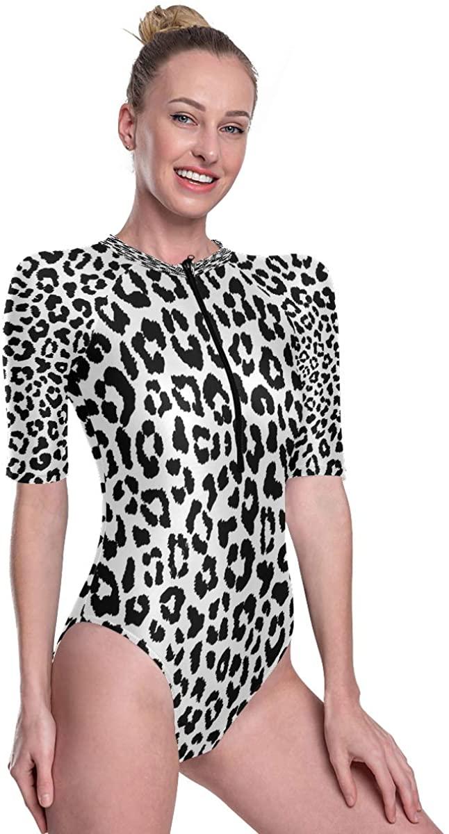 Women's One Piece Short Sleeve Rashguard Surf Swimsuit Unique Leopard Print Abstract Bathing Suit