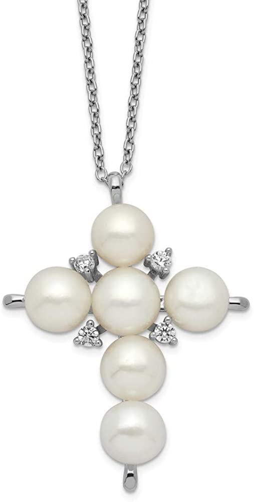 925 Sterling Silver 6-7mm White Button Freshwater Cultured Pearl CZ Cubic Zirconia Cross Necklace 17