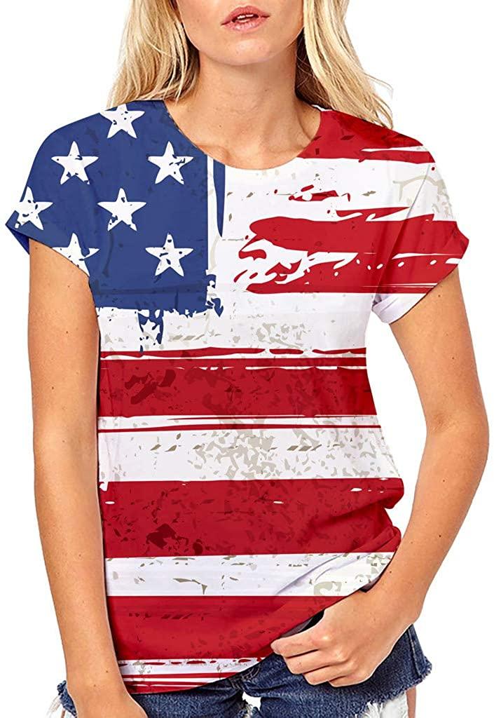 TOTAMALA Women American Flag July 4th Short Sleeve Tops Girls Plus Size Print Tees Shirt Blouse