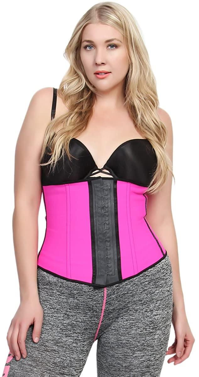 TheMogan Women's Workout Body Shaper Waist Cincher Corsets Pink 2XL