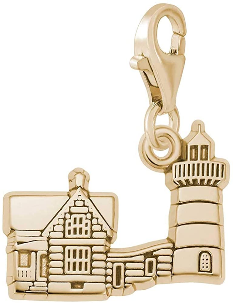 Rembrandt Charms Nubble Cape Nedick Lighthouse, ME Charm with Lobster Clasp, 10K Yellow Gold