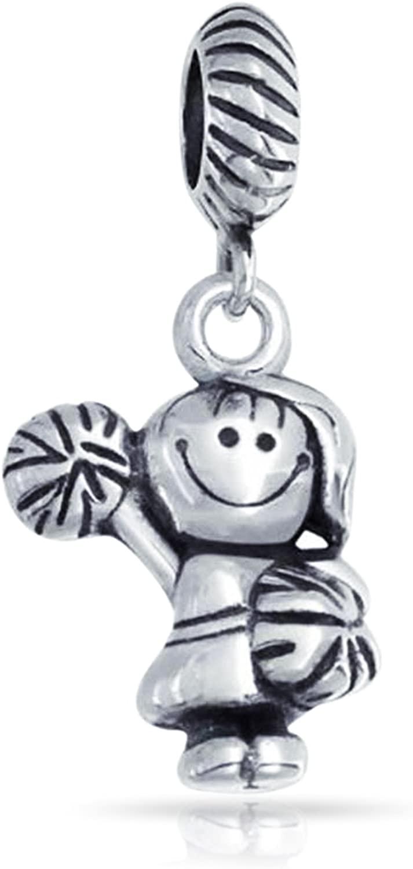 Personalized Cheerleader Soccer Player Dangle Cartoon Charm Bead For Women 925 Sterling Silver Fit European Bracelet