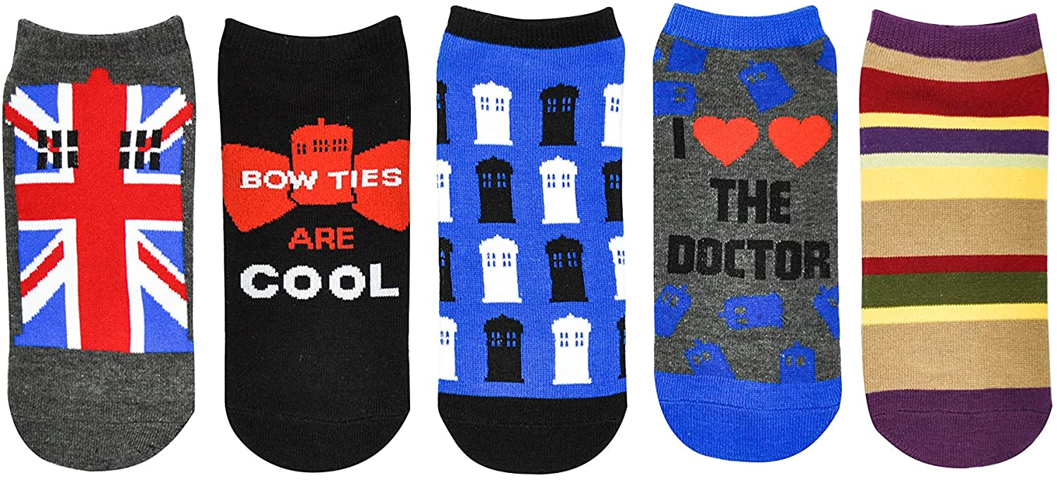 Doctor Who Socks Merchandise (5 Pair) – (Women) Dr Who Low Cut Socks Gifts – Fits Shoe Size: 4-10 (Ladies)