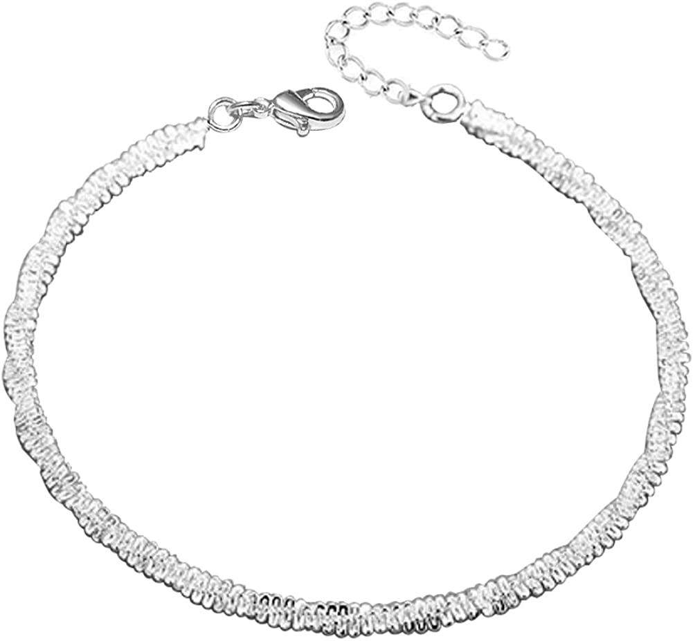 JMQJewelry Mothers Valentine's Day Women Shiny Sexy Bead Ankle Bracelets Chain for Girl Beach Anklet Foot