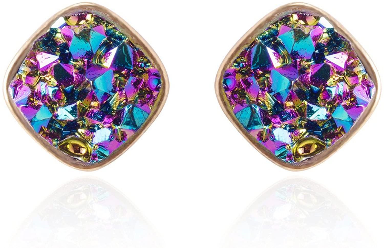 BaubleStar Druzy Stud Earrings Delicate Square Glittering Ear Studs Jewelry