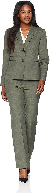 Le Suit Women's Melange 2 Button Shawl Collar Pant Suit