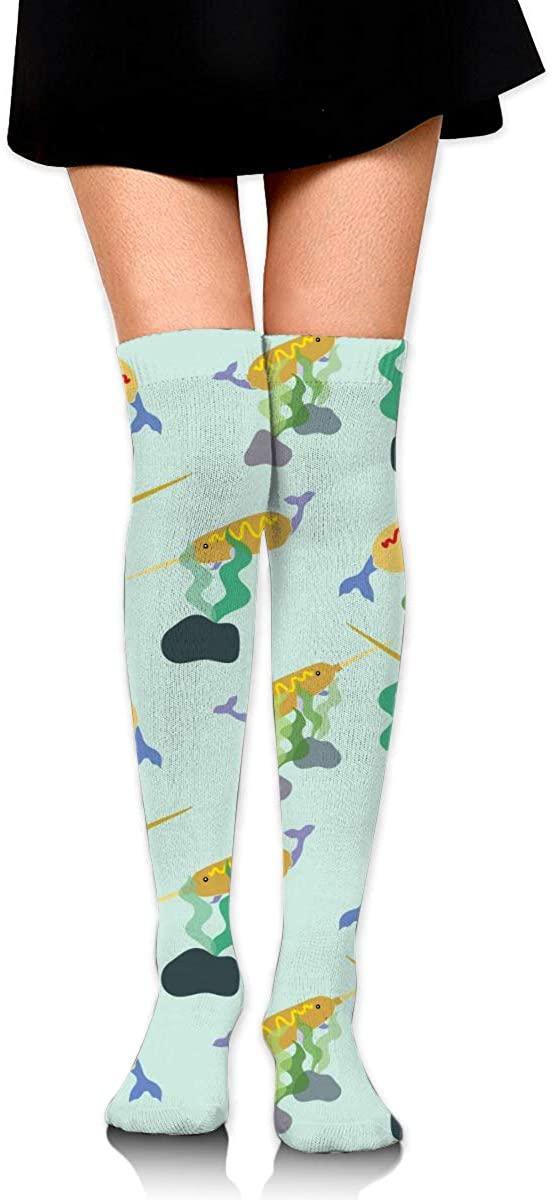 Dress Socks Narwhal Corn Dog Food High Knee Hose Tights Hold-Up Stockings