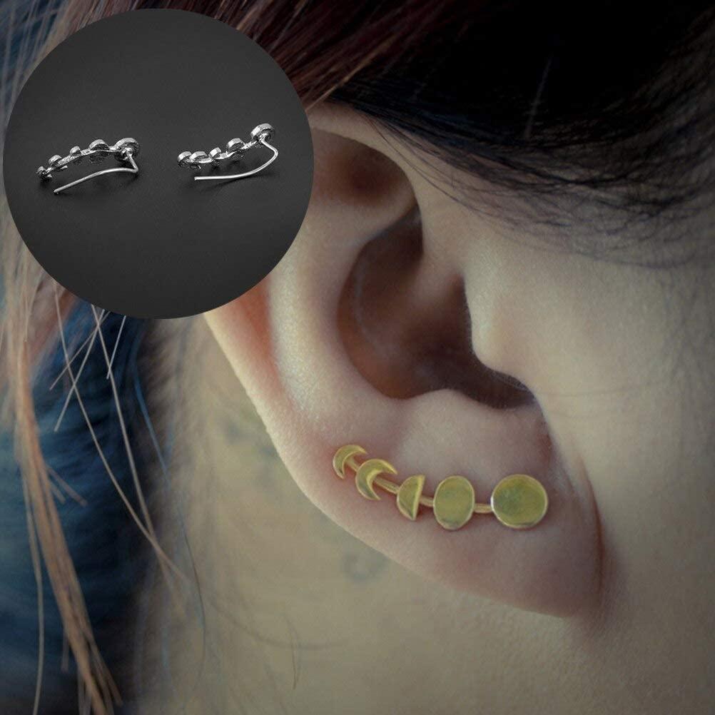Harva Women Ear Sweep Wrap Silver/Gold Ear Climber Moon Phases Ear Cuffs Earrings - (Main Stone Color: Silver)