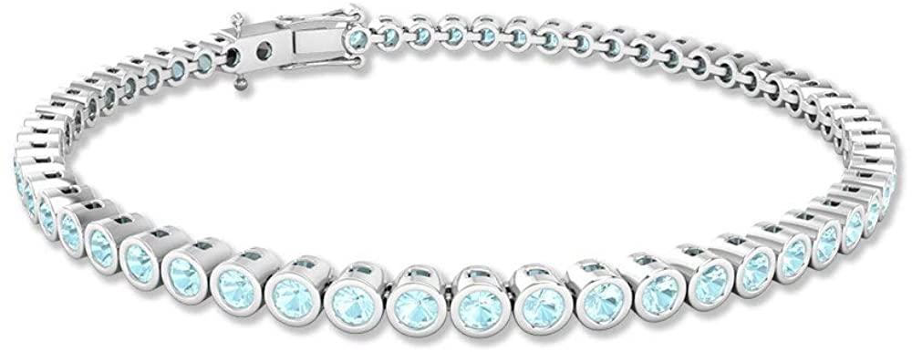 2.8 Ct Blue Topaz Sky Wedding Bracelet, Bezel Set Gemstone SGL Certified Tennis Bracelet, Stackable Charm Bracelet, Statement Bracelet 7 Inch