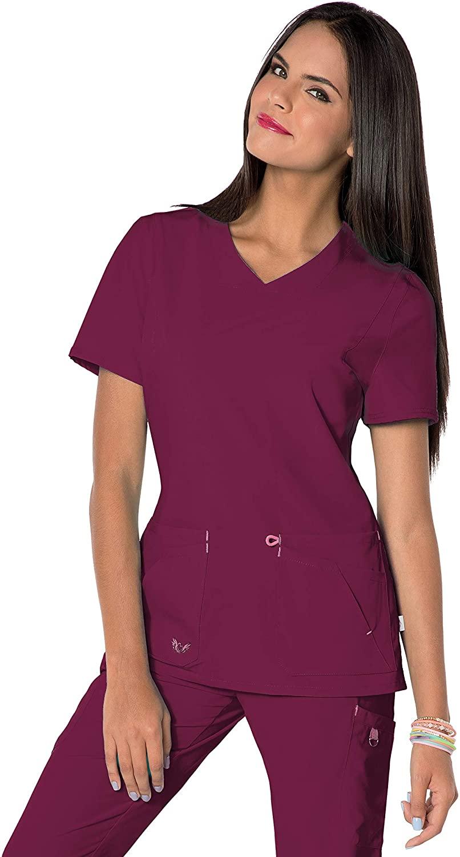 Smitten Women's 2 Pocket, Contemporary Slim Fit, Super Stretch, V-Neck Medical Scrub Top S101034, Wine, XSM
