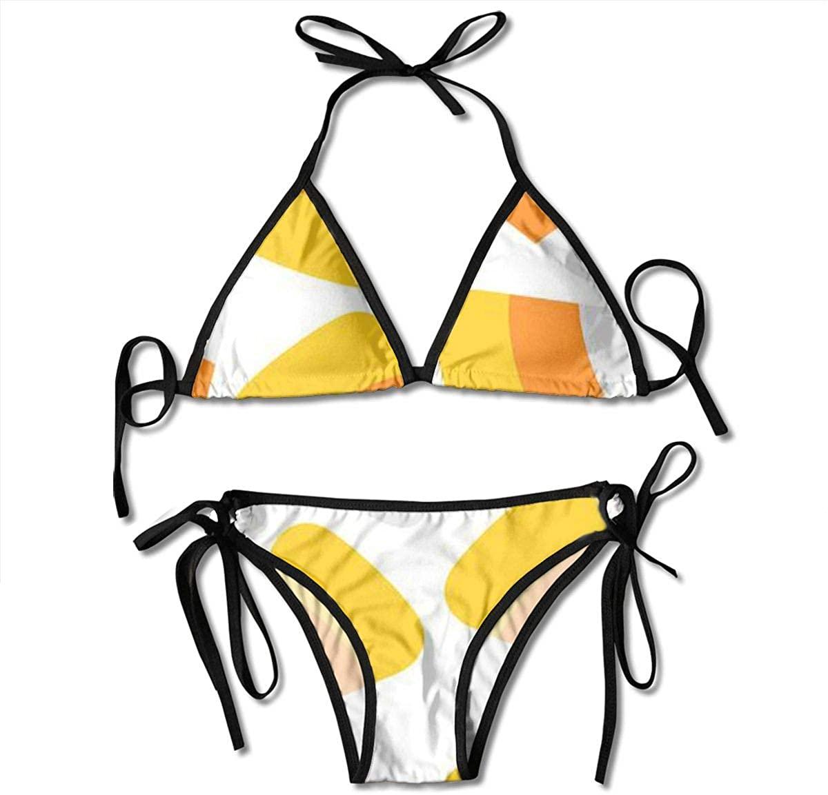 ZMagwa Women's String Triangle Bikini Set Two Piece Happy Halloween Candy Corn Swimsuit Black