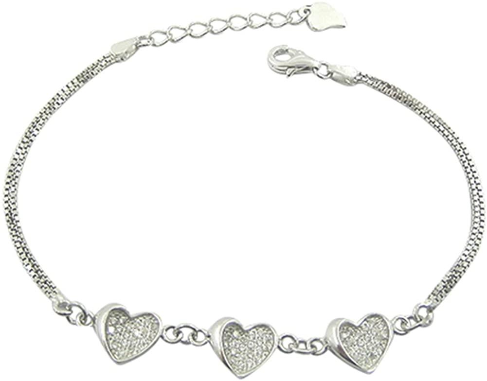 Sterling Silver CZ 3 Heart Chain Bracelet