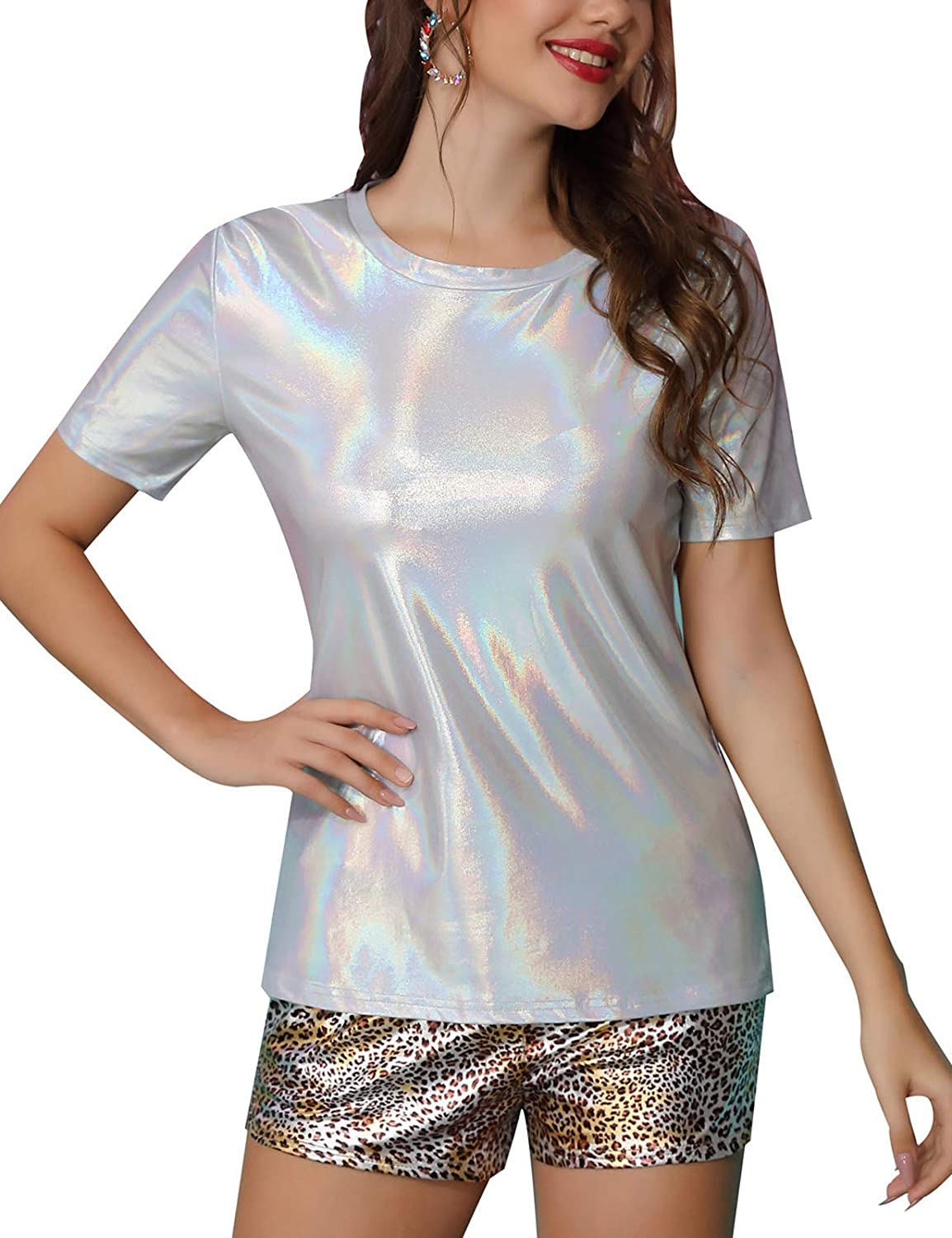 Kate Kasin Shiny Tops for Women Metallic Holographic Shirt Party Shimmer Sparkle Disco T-Shirt