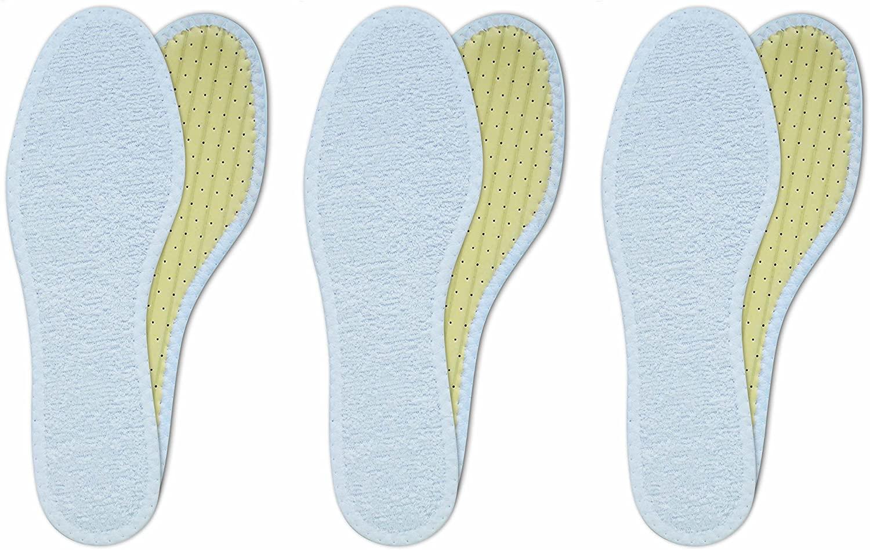 Lenzen 3 Pairs Washable Cotton Terry Barefoot Shoe Insoles