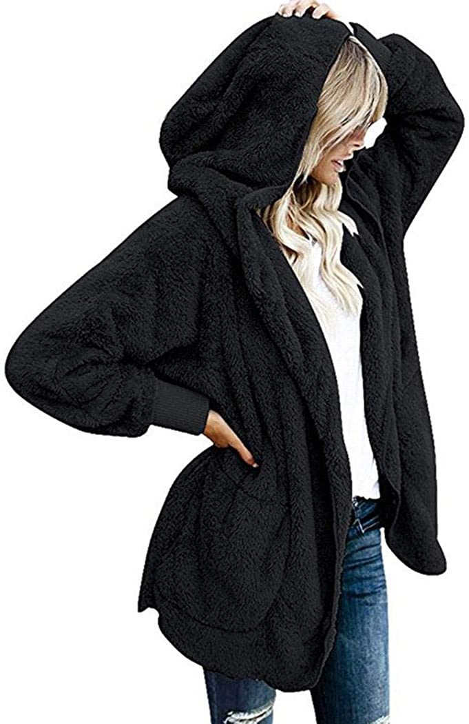 nurrat Women Casual Hooded Neck Long Sleeve Solid Loose Open Stitch Cardigan Coat Down
