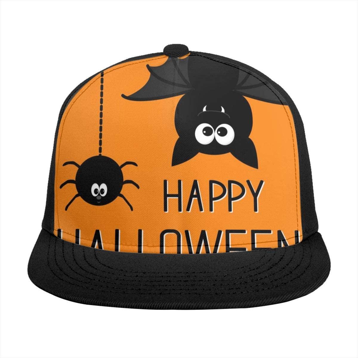 Sun Visor Hat Cute Bat, Hanging Spider, Happy Halloween, Black Orange Baseball Cap Flat Brim Hat for Women Men Summer