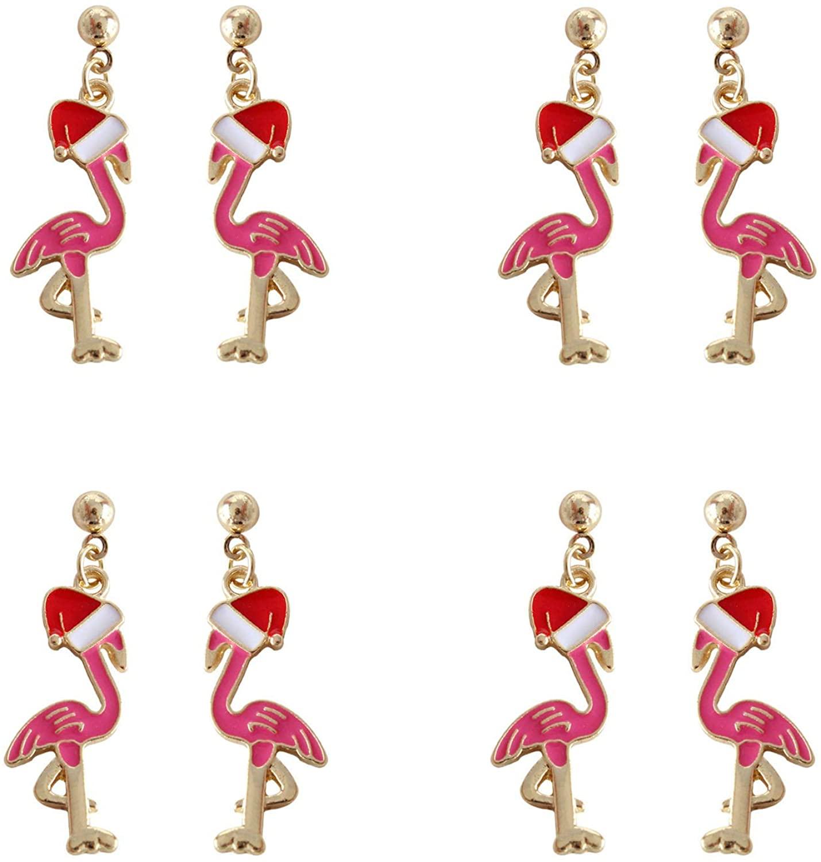 HUASAI 4Pcs Flamingo Dangle Earring for Women Bird Animal Christmas Hat Earring Christmas Jewelry