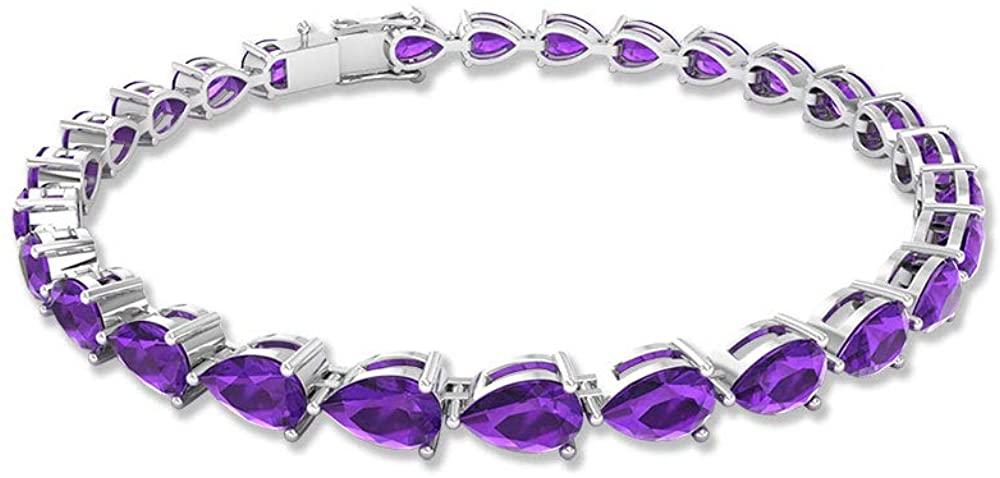 9.45Ct SGL Certified Amethyst Gold Bracelet, Pear Shape Gemstone Bridal Bracelet, Classic Women Charm Statement Bracelet, Wedding Anniversary Bracelet