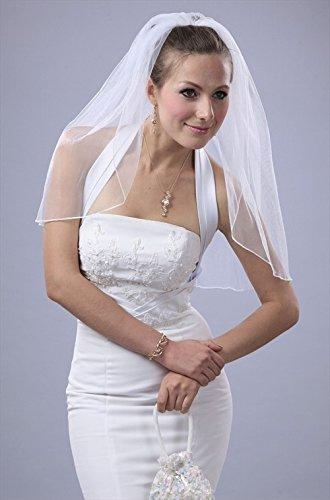 Bridal Wedding Classic Veil White 1 Tier Short Shoulder Length Pencil Edge