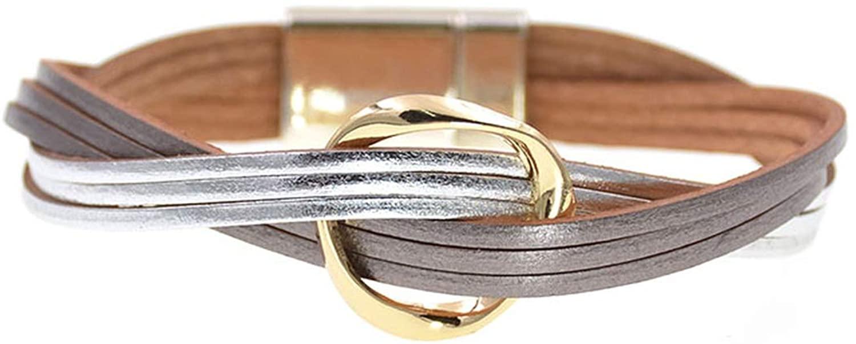 18 Colors charm Leather Bracelets For Women & Men Multiple Layers wrap Bracelets Couple gifts Jewelry,silver gray,19cm