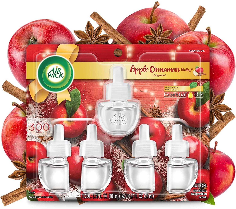 Air Wick, Plug in Scented Oil 5 Refills, Apple Cinnamon Medley, 3.38 oz