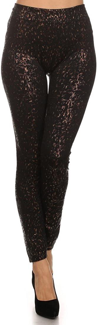 ICONOFLASH Women's Metallic Print Fleece Lined Leggings