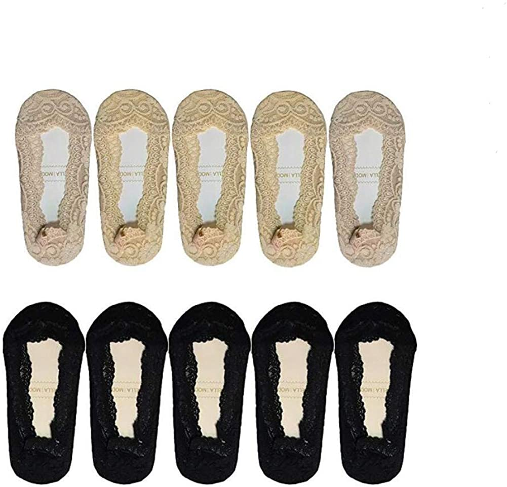 10 Pairs No Show Lace Boat Socks Non-slip Ankle Socks Invisible Socks for Women Favors (5 Pairs black+5 Pairs complexion)