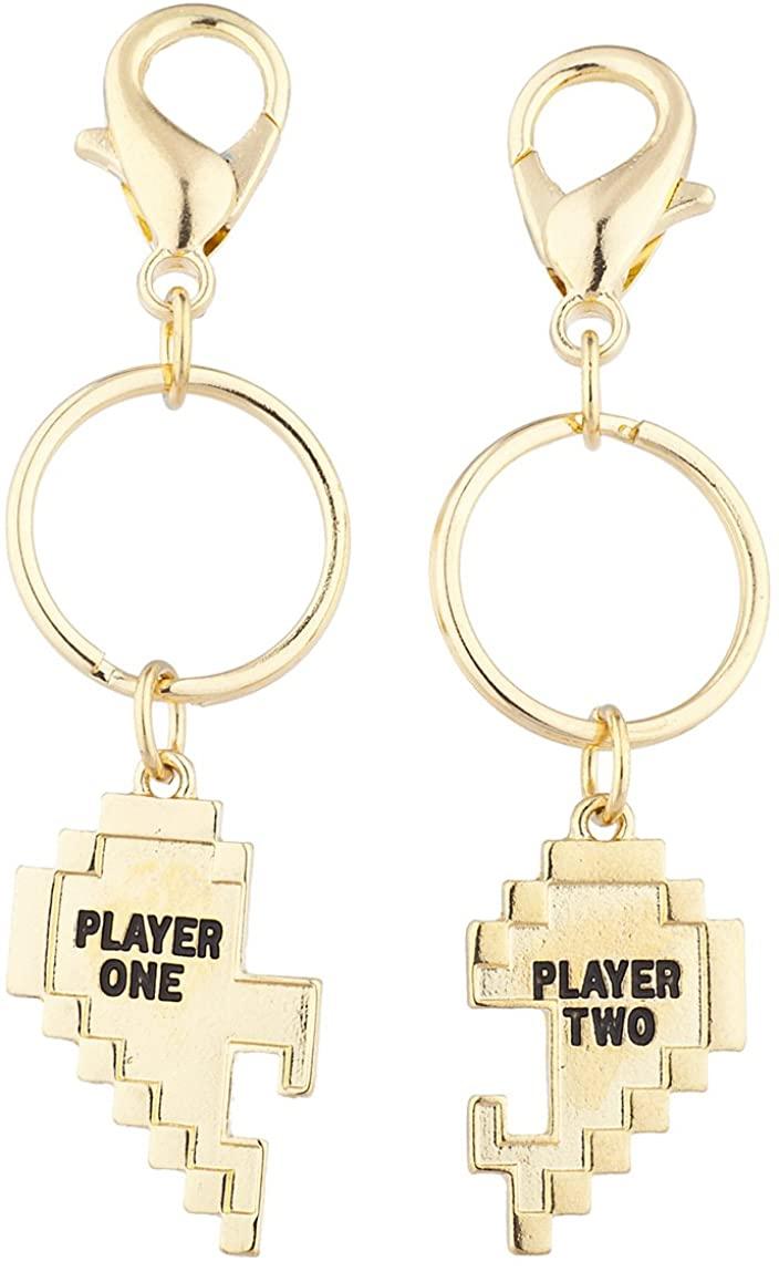 Lux Accessories Gold Tone Player 1 2 Gamer BFF Broken Heart Key Chain Set (2pc)