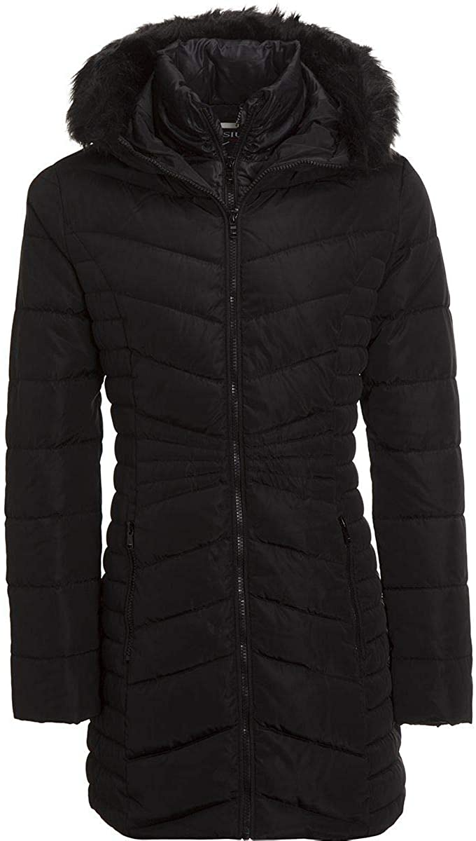 Celsius Faux Fur Hooded Quilted Insulated Jacket - Women's Black, L