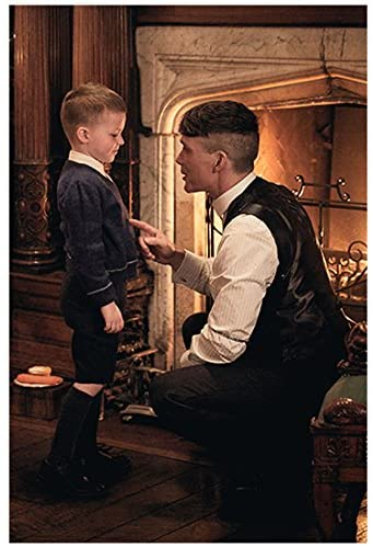 Peaky Blinders Cillian Murphy as Thomas Shelby Squatted Down Finger Pointed at Child 8 x 10 Inch Photo