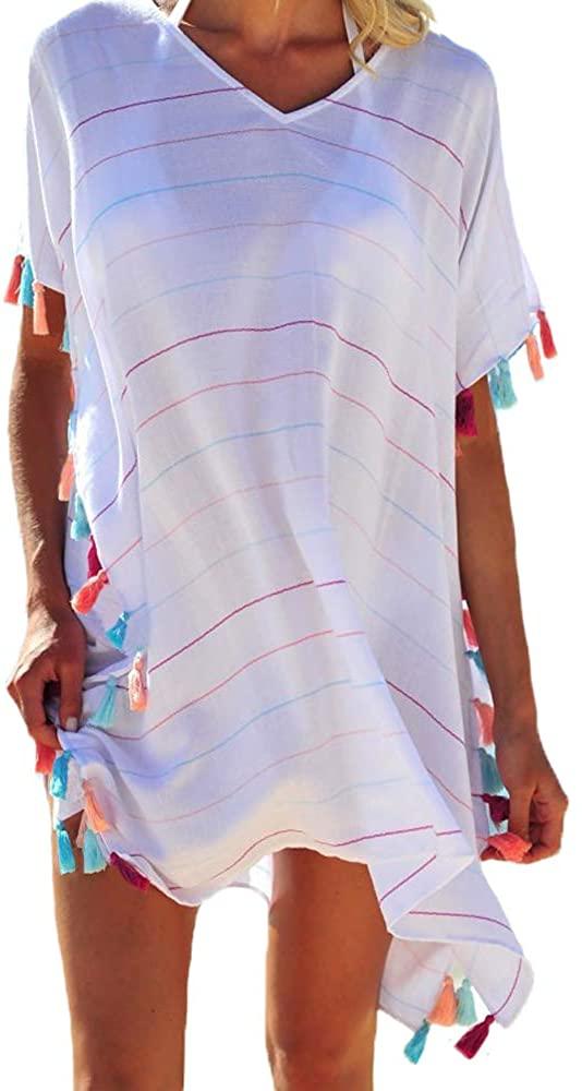 Multitrust Women Perspective Stripe Print Tassel Swimsuit Cover Up Dress Kaftan Bikini Swimwear Cover-Ups