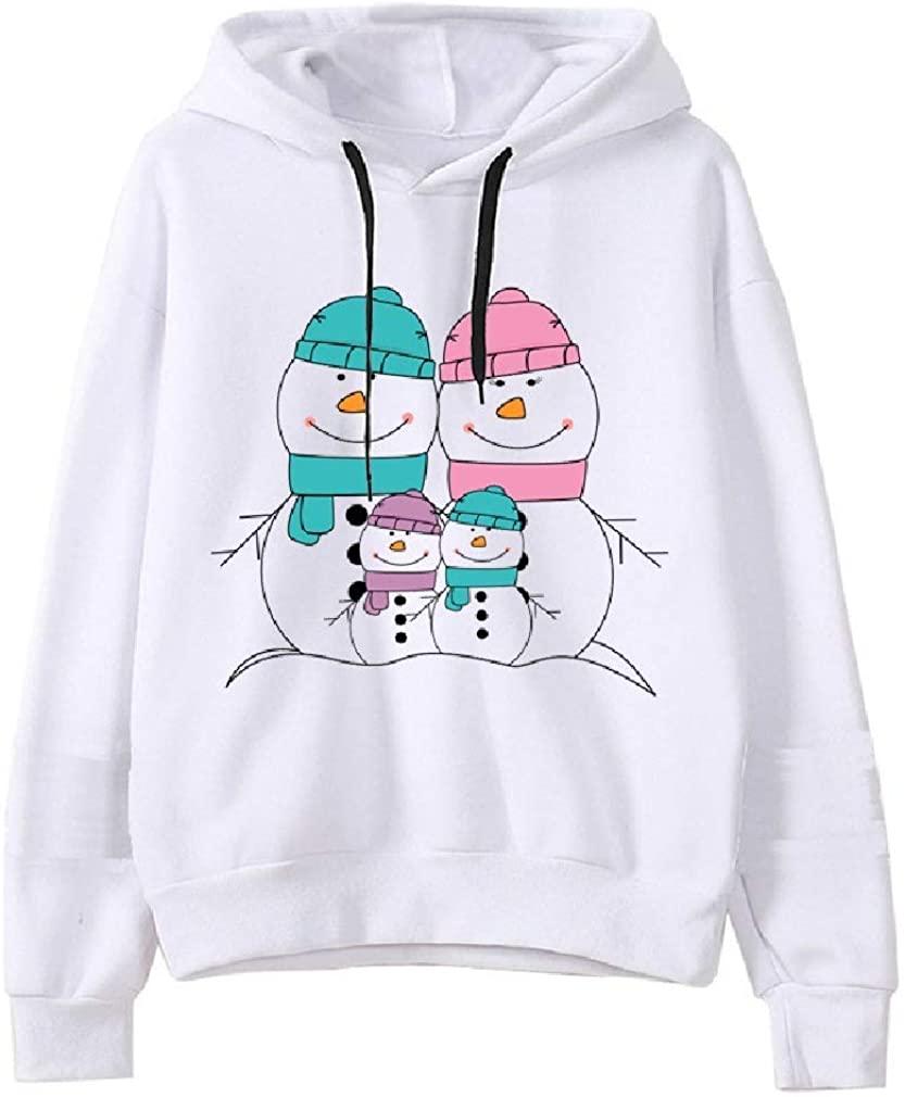 Aooword Women Merry Christmas Snowman Hoodie Loose Blouse Sweatshirts