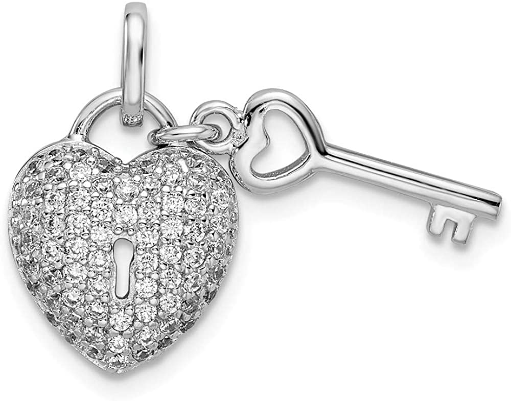 Sterling Silver Rhodium-Plated Synthetic CZ Heart Lock & Key Pendant QP4922