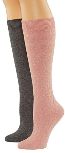 MIXIT Women's 2Pk Knee High Socks - Pink/Gray - Shoes Size 4-10