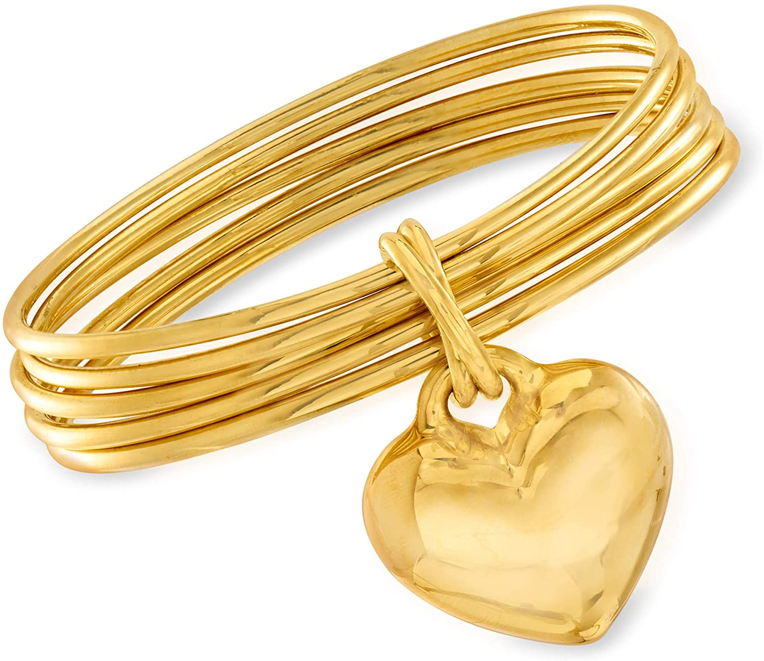 Ross-Simons Italian Andiamo 14kt Yellow Gold Heart Charm Multi-Bangle Bracelet