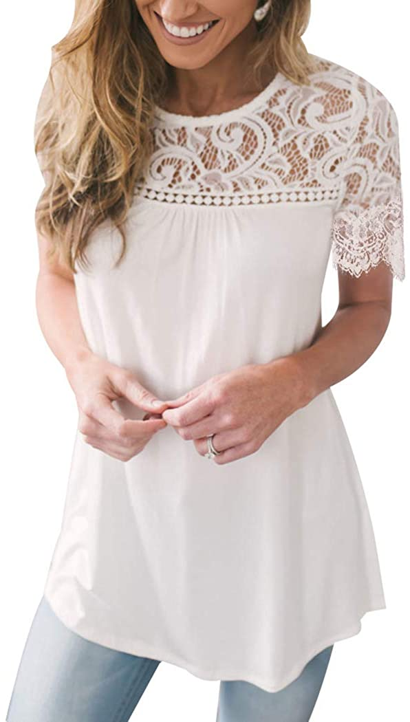 Miqieer Women Floral Lace Summer Blouse Sheer Short Sleeve Casual Tunic Shirt