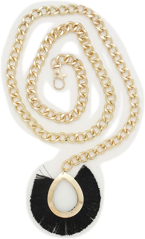 TFJ Women Cute Fashion Belt Hip High Waist Gold Metal Chain Black Charm Buckle Size M L XL