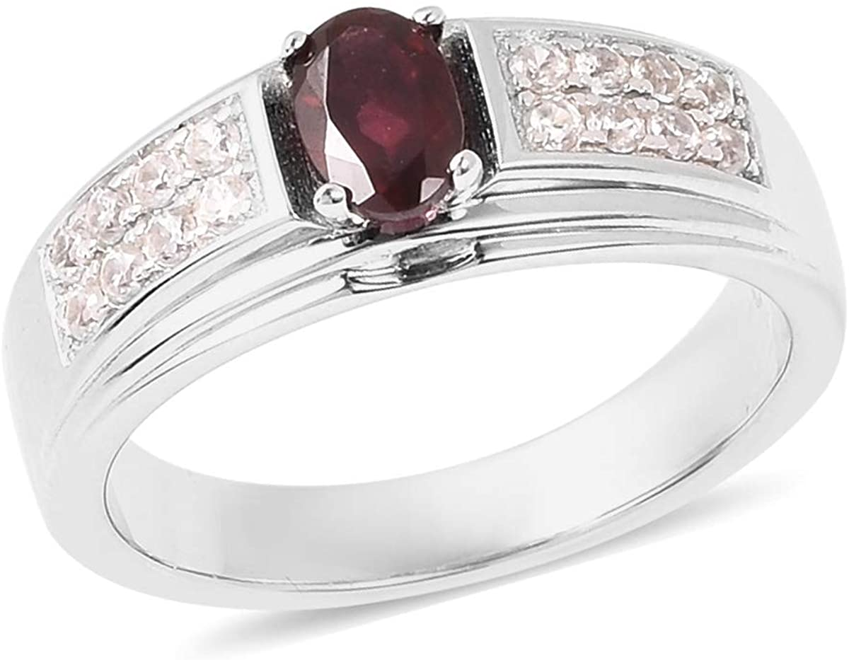 925 Sterling Silver Oval Pyrope Garnet White Zircon Ring Anniversary Gift Jewelry for Women Size 7 Ct 5.2