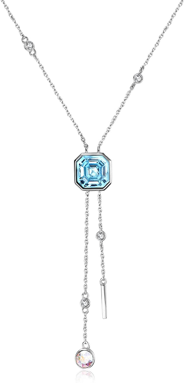 AOBOCO Y Necklace Sterling Silver Lariat Necklace with Swarovski Crystal,Fine Jewelry Gift for Women Girls
