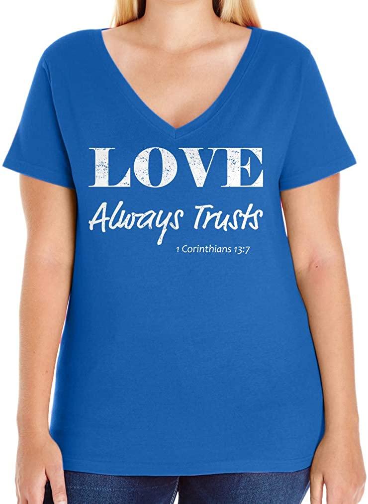 Tenacitee Women's Love Always Trusts V-Neck T-Shirt