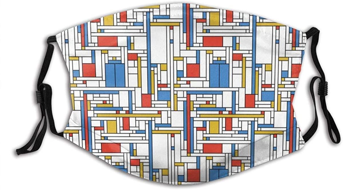 Unisex Multi Usage Face Cover Up,Mondrian Blue Box Neoplasticst Reusable Cloth Mask