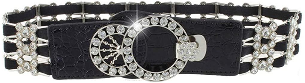 Stretch Belt for Women Luxury Rhinestone Black Wide Waist Belts