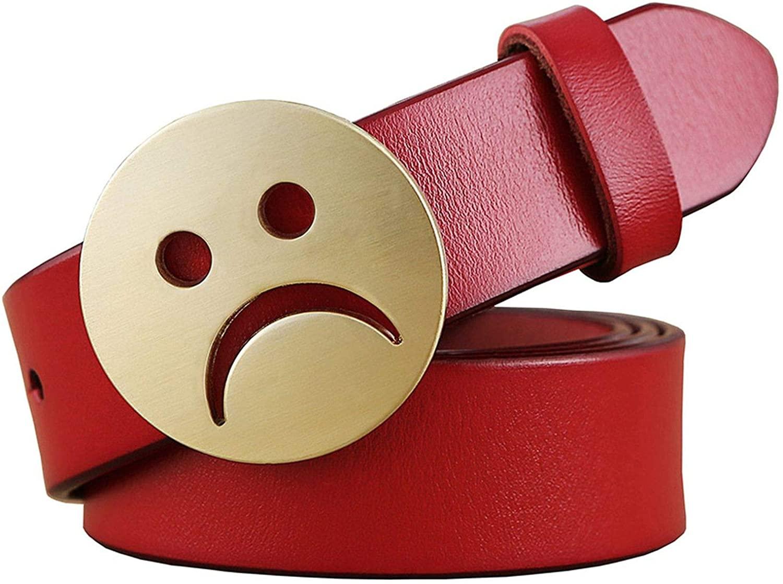 Novelty Genuine Leather Belts Women Sad Face Pin Buckle Belt Woman Second Layer Cowskin Strap Jeans