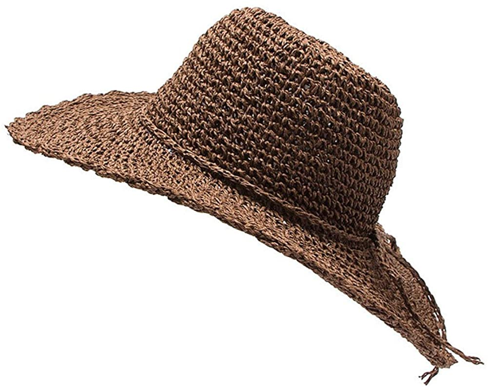 Mlotus Women's Large Wide Brim Floppy Beach Sun Visor Shade Packable Straw Hat Cap Coffee
