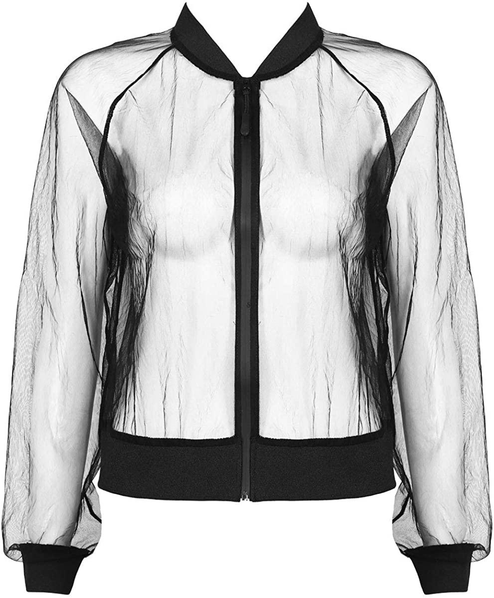 YiZYiF Women's Fashion See Through Ultra-Thin Long Sleeves Relaxed Sheer Mesh Zip Up Jacket Coat