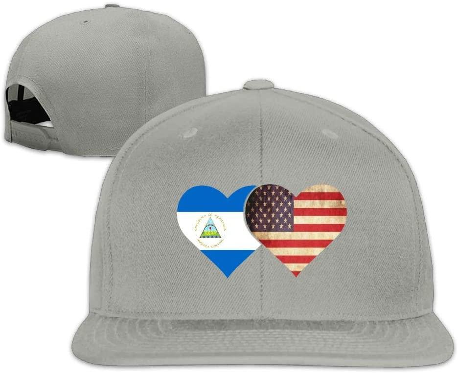 YOIGNG Nicaragua Flag and American Flag Baseball Caps Grid Hat Adjustable Trucker Cap Bandanas